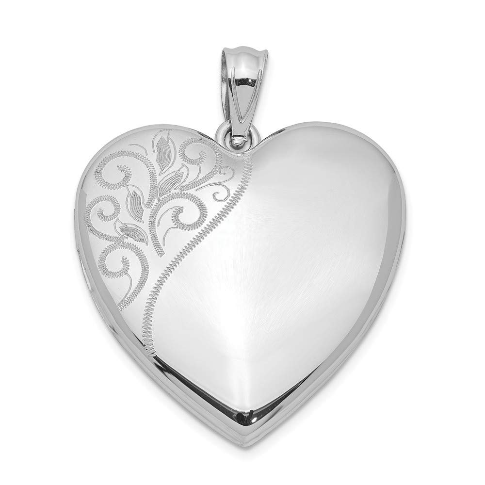 925 Sterling Silver 24mm Swirl Heart Photo Pendant Charm Locket Chain Necklace That Holds Pictures Fine Jewelry Gifts For Women For Her by ICE CARATS