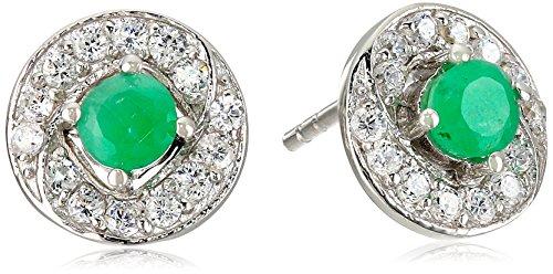 Genuine-Emerald-and-Cubic-Zirconia-Stud-Earrings