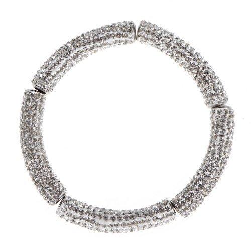 Five Season 5pcs White Rhinestone Curved Tube Spacer Beads for Jewelry (Curved Rhinestone)