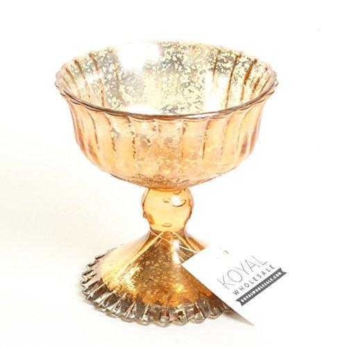 OKSLO 4.5-inch rose gold glass compote bowl pedestal flower bowl centerpiece Model kk2016