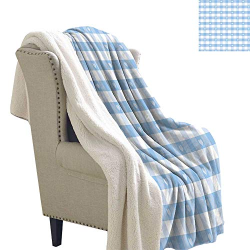 Benmo House Cozy Flannel Blanket Checkered,Gingham Motif with Cute Little Hearts Pastel Blue Baby Shower Kids Theme,Light Blue White Blankets 60x32 Inch