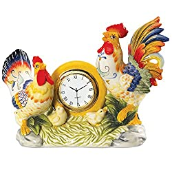 Fitz and Floyd Ricamo Collection, Rooster Clock
