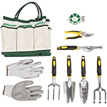 Uhango Gardening Tools Set, 9 Pieces include gloves and shears.Garden Gifts for Parents or Friends