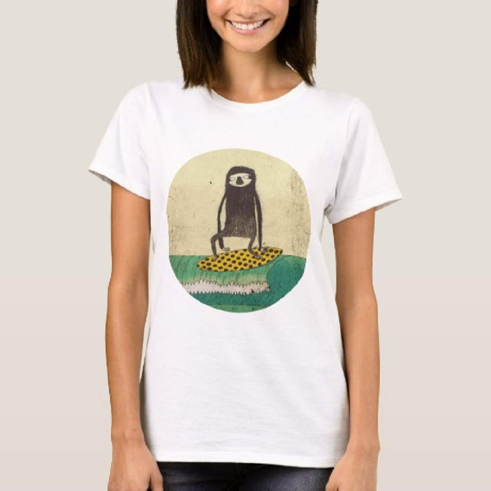 Funny Summer Surfing Sloth T Shirt For Funny Short Sleeve Tees Tops
