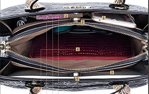 main gaufrés à Sacs mariage Black supérieure cuir en les portatif Sacs poignée partie Serpentine de Totes de pour Sac à à clubs bandoulière Af5ddwqE