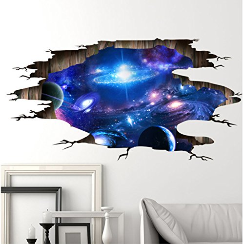 Space Galaxy Meteorites 3D Blue Purple Sky Wall Decals Removable Wall Stickers for Wall and Ceiling Home Decor (Halloween Horse Show Names)