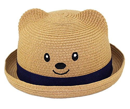 Adanina Bear Straw Baby Spring Summer Hat Sun Protection Toddler Baby Caps Hats