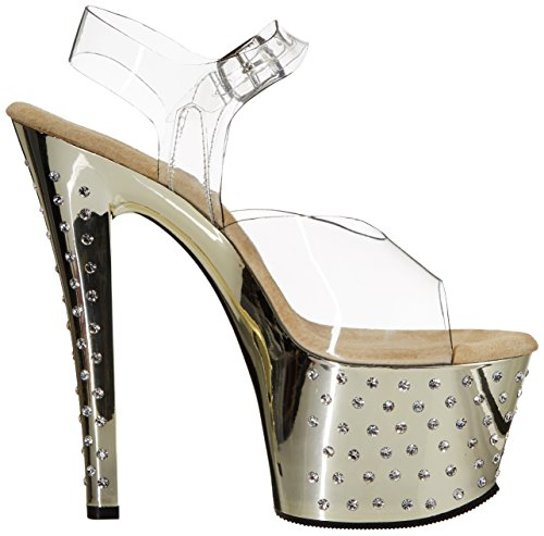 Pleaser 708 Donna Stardust Sandali Gold Chrome Clr fqCav1wf