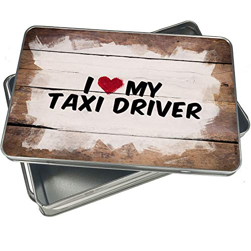 Taxi Cookie Jar - NEONBLOND Cookie Box I heart love my Taxi Driver Christmas Metal Container