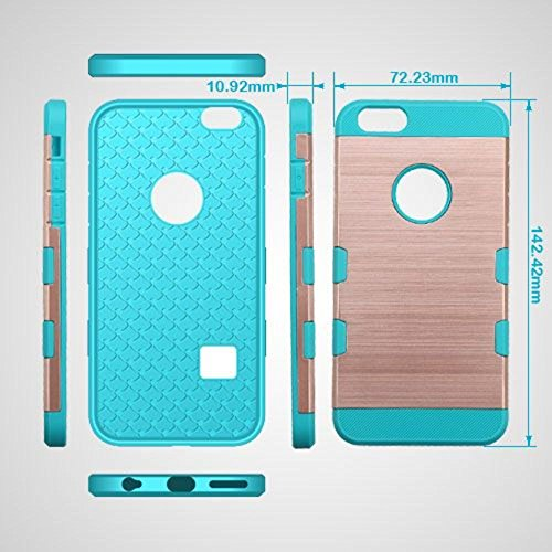 Mybat Tuff Trooper Coque hybride de protection pour iPhone 3S/6 – Or rose/bleu sarcelle Tropical brossé