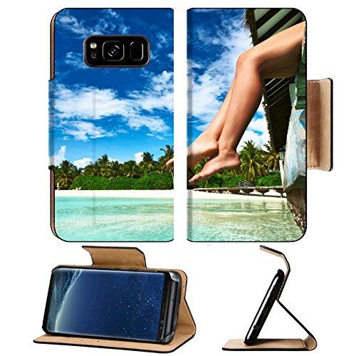 Liili Premium Samsung Galaxy S8 Plus Flip Pu Leather Wallet Case IMAGE ID: 19525791 Woman s legs at beach - Store Jetty