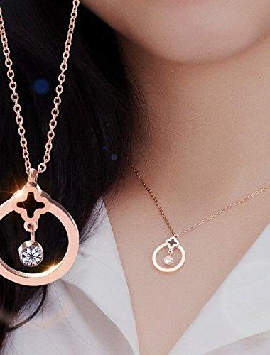 Special Design Sexy Black Circle Drop Zircon Necklace Pendant Clover Women Girls Short Clavicle