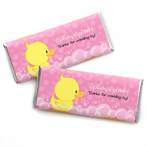 Pink Ducky Duck - Candy Bar Wrappers Girl Baby Shower or Birthday Party Favors - Set of 24