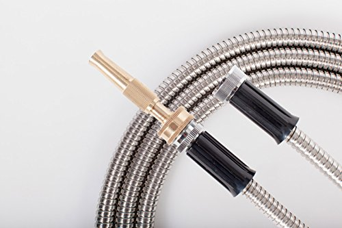 25' FT Metal Garden Hose 304 Stainless Steel 18 Gauge Super Light Weight With Solid Brass Fireman Twist Nozzle Sprayer