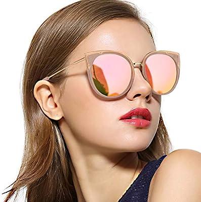 Women/'s Ladies Metal Frame Mirrored Cat Eye Sunglasses UV400