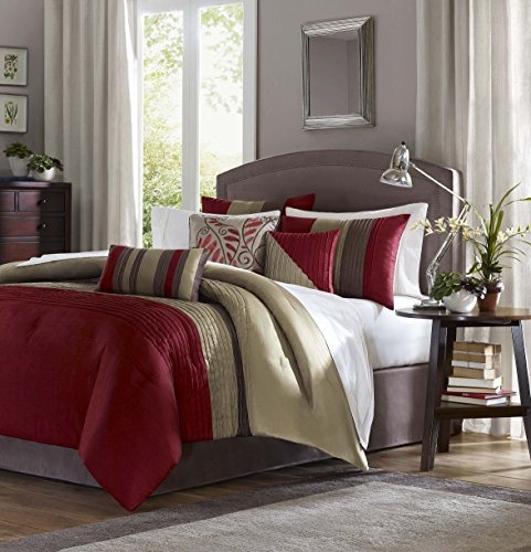 Madison Park Amherst 7 Piece Comforter Set – Queen – Red
