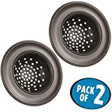mDesign Stainless Steel Kitchen Sink Drain Strainers - Pack of 2, Bronze