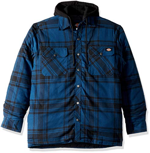 Dickies Men's Relaxed fit Hooded Quilted Shirt Jacket, Insignia Blue/Black Plaid, M ()