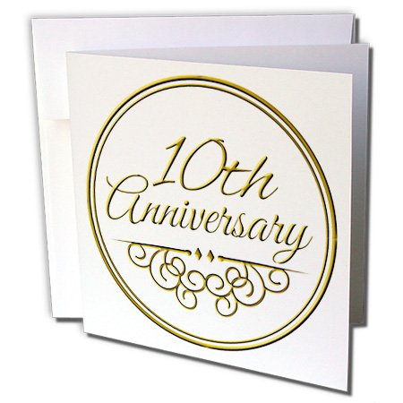 3dRose 10th Anniversary gift - celebrating wedding anniversaries 10 tenth ten years together - Greeting Cards, 6 x 6 inches, set of 6 (gc_154452_1)