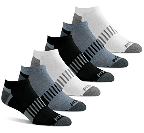 Prince Men's Low Cut Performance Socks for Running, Tennis, and Casual Use (6 Pair Pack) (Men's Shoe Size 6-12 (US), Black-White-Grey)