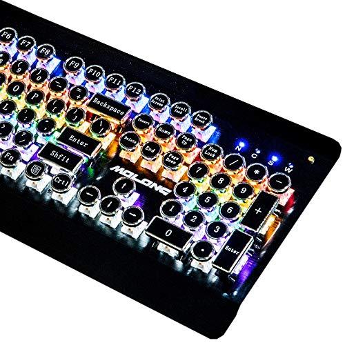 Chaopeng カスタムスチームパンクメカニカルキーボードレトロキーボードタイプライター純金属カラフルなゲーム人格クリエイティブラウンドキー104キー B07QMM9NT5