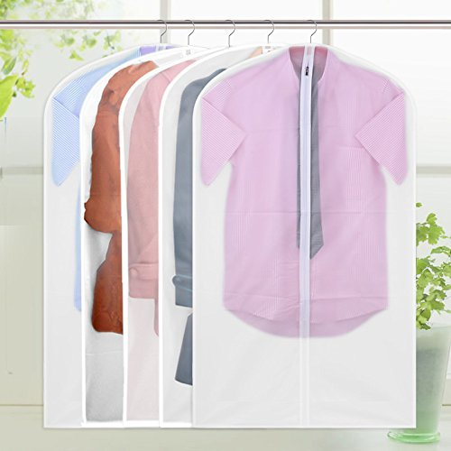FU GLOBAL Top Quality Easy Organize Travel Cloth Bag, Set of 5 units Clear Zipped Suit Bags Zipper Garment Clothes Covers - 40 Inches Long (Tall Garment Bag compare prices)