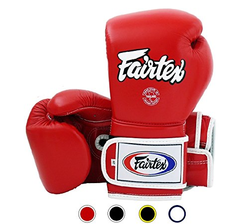Fairtex Muay Thai Boxing Gloves BGV9 - Heavy Hitter Mexican Style - Minor Change Black with Yellow Piping 12 14 16 oz. Training & Sparring Gloves for Kick Boxing MMA K1 (Red w/White Piping, 14 oz)