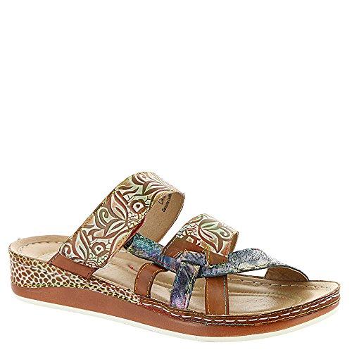(L'Artiste Women's by Springstep, Caiman Slide Sandals Camel 3.7 M)