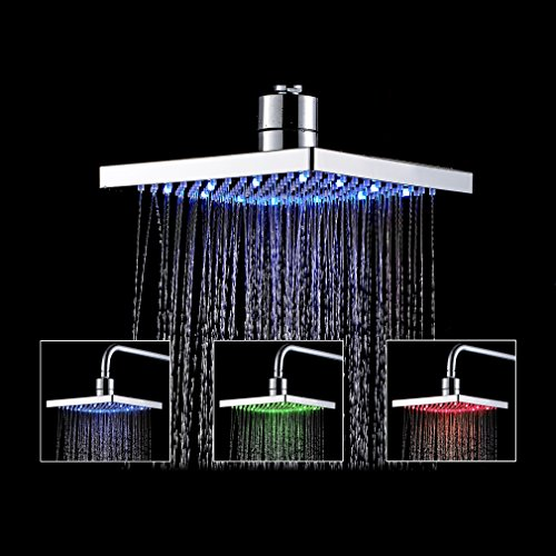 Auralum Rainfall Shower Head LED Light 8 inch 3 Color-Changing LED Overhead Chrome Finish