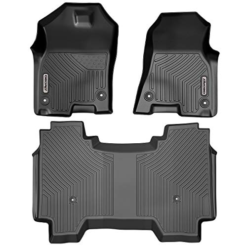 oEdRo Floor Mats Custom Fit for 2019-2020 Dodge Ram 1500 Crew Cab, with 1st Row Bucket Seats, No Rear Under-seat Storage Box, Unique Black TPE All-Weather Guard Includes 1st, 2nd Row Full Set Liners