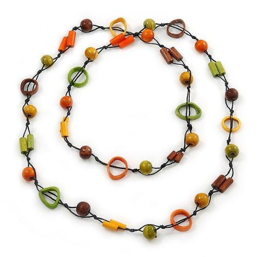Avalaya Orange Wood Bead Cotton Cord Long Necklace - 110cm L DLKq8Na