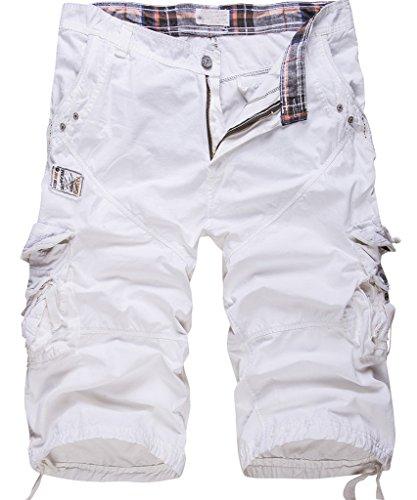 Cottory Men's Cotton Loose Fit Multi Pocket Cargo Shorts White 29 ()