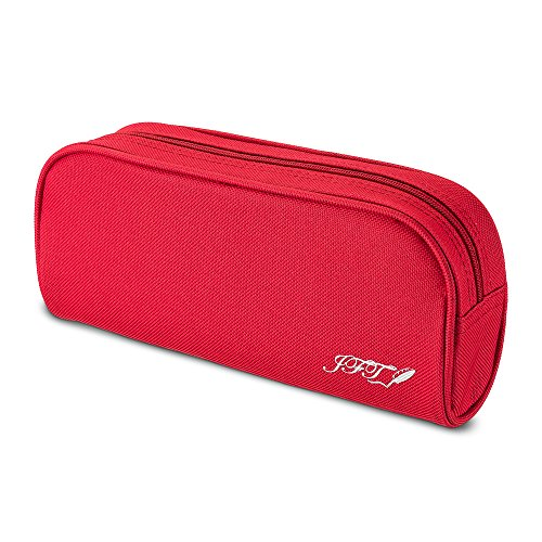 Case Colored Red with Small Compartments Storage- Organizer Pen Zipper Pouch Bag to Hold Pencils, Marker for Teen Girls, Boys, Kids ()