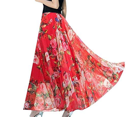 t Demi Femmes YUCH Imprime Jupe Soie Haute en Yan De Taille Jupe Mousseline pour fq7xT5wq