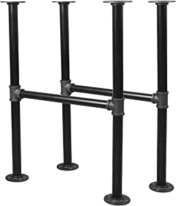 Niubid 28 Inch Industrial Pipe Table Leg Set - Iron Base LegsCoffee & End Tables, Desks, Nightstand - Vintage, Mid-Century Modern Aesthetic - Dark Grey Black Rough Pipes