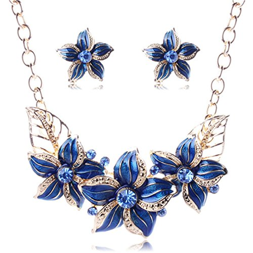 Gold-Color Austrian Crystal Enamel Flower Jewelry Sets Fashion Necklace Earring Set For Women Blue as picture