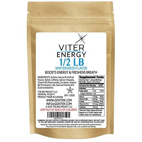 Viter Energy Wintergreen Caffeinated Mints – 40mg Caffeine & B-Vitamins Per Powerful Sugar Free Mint. Boost Energy, Focus & Fresh Breath. 2 Pieces Replace 1 Coffee, Energy Drink, Caffeine Candy & Gum
