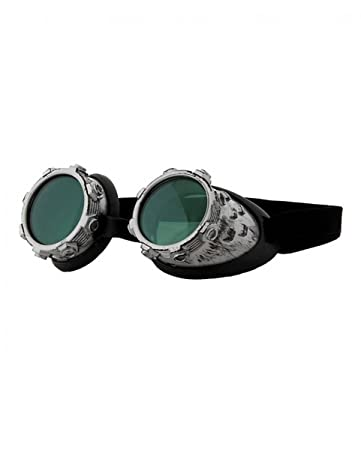 Silber-grüne Steampunk Brille Aviator als Kostümzubehör ACmewrf