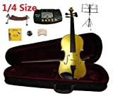 Merano 1/4 Size Gold Violin with Case and Bow+Extra Set of String, Extra Bridge, Shoulder Rest, Rosin, Metro Tuner, Music Stand, Mute