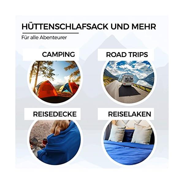 Miqio® 2in1 Hüttenschlafsack mit durchgängigem Reißverschluss (Links oder rechts): Leichter Komfort Reiseschlafsack und…