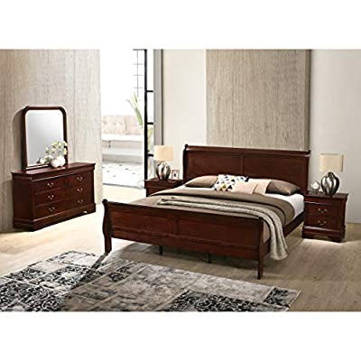 Roundhill Furniture Isola 5-Piece Louis Philippe Style Sleigh Bedroom Set, King Bed, Dresser Mirror and 2 Night Stands, Cherry Finish-P
