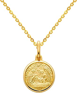 The World Jewelry Center 14k Yellow Gold Religious Miraculous Mary Medal Pendant with 1.2mm Cable Chain Necklace