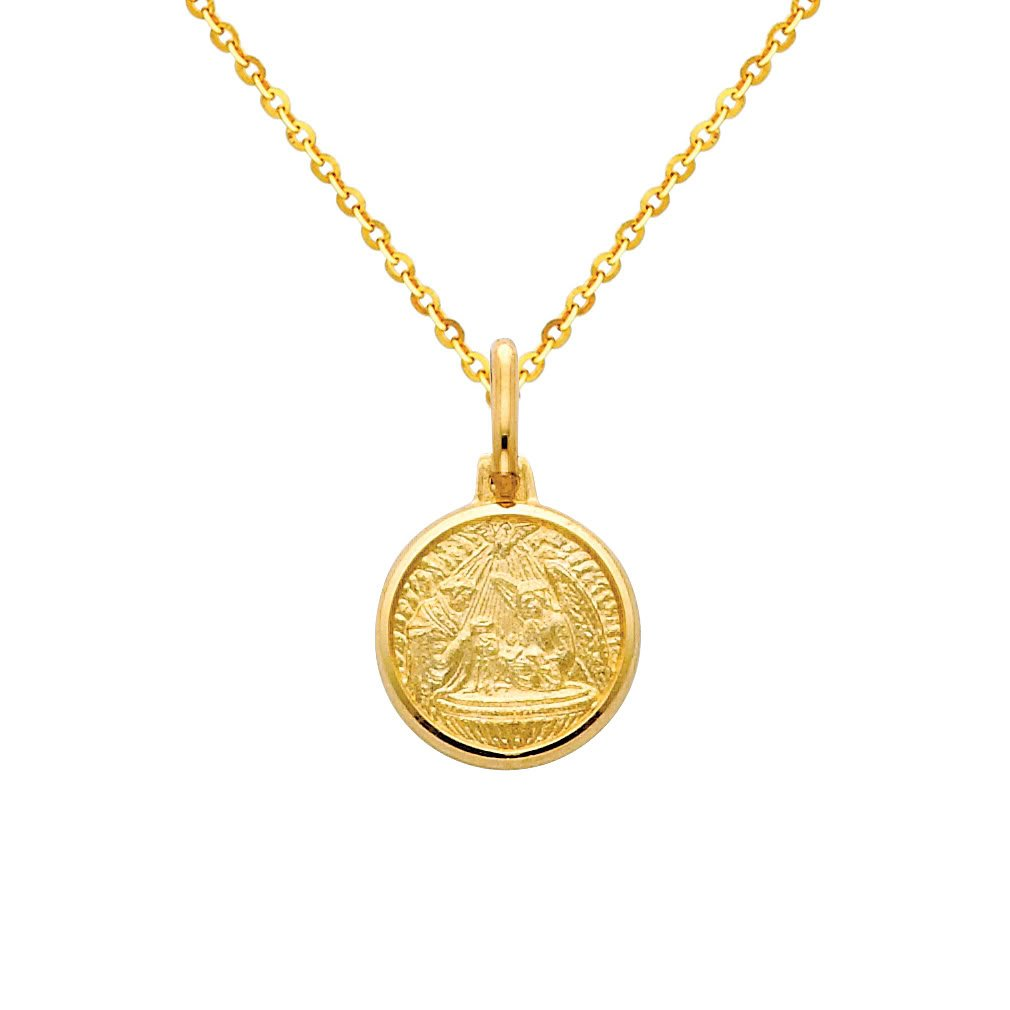 14k Yellow Gold Religious Baptism Medal Pendant with 1.2mm Cable Chain Necklace - 22''