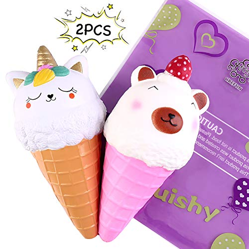 Ice Cream Cone Squishy Pack - Crefun NM9213 (2019 New) 7.3 Inch 2Pcs Jumbo Slow Rising Cute Squishies Food Gifts for Kid Stress Relief Toys Including Bear Cat Unicorn, Super Soft Cream Scented Kawaii