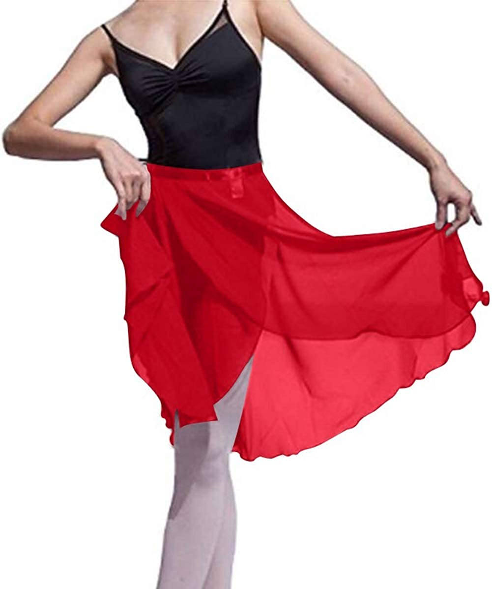 GOGO TEAM Child /& Adult Sheer Wrap Skirt Ballet Skirt Ballet Dance Dancewear-Red-CHILD
