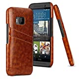 HTC M9 Case,3C-Aone [Card Slot Vintage Series] Soft Corrected Grain Leather Case [Wallet Style] [2 Card Slots], Leather Case Back Cover for HTC M9 (Brown)