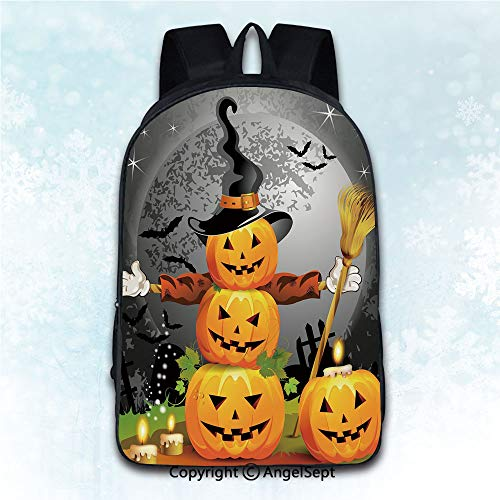 Elegant Rucksack with Two Carrying Ways,Halloween Cute Pumpkins Funny Composition Traditional Celebration Witches Hat Broomstick Multicolor 16 inches,Anti-Theft Knapsack
