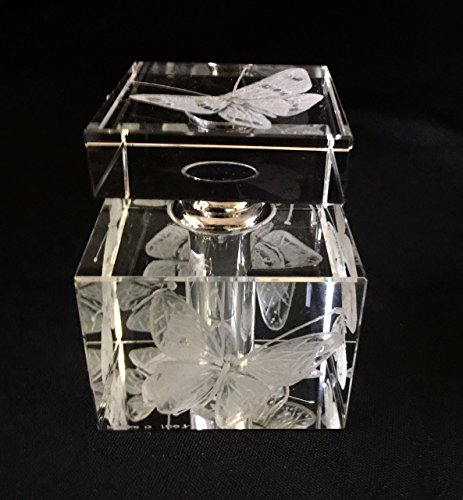 Hand Engraved Crystal Perfume bottle, Butterflies, Oleg Cassini, Vanity, Home Decor, Glass Engraving by Akoko Art Handengraved Crystal Glass
