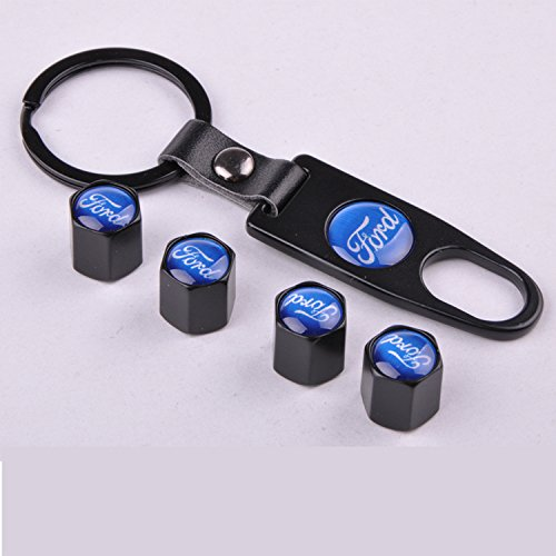 Set of 4 Car Tire Valve Stem Air Caps Cover + Keychain For Ford Blue
