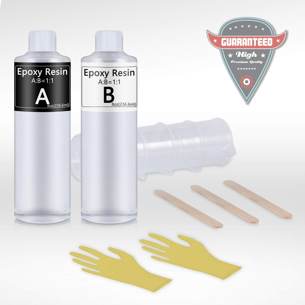 Epoxy Resin Crystal Clear Coasting for Wood Tabletops, Bar Tops,Jewelry, Crafts- 16 Ounce Kit | Bonus Tools 4 pcs Graduated Cups, 3pcs Sticks, 1 Pair Rubber Gloves PuDuo